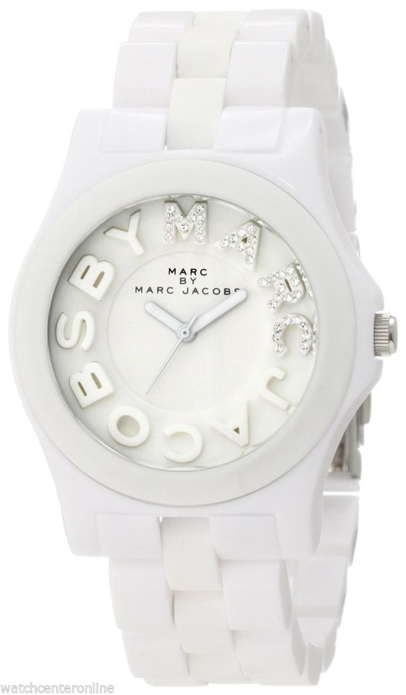Marc by Marc Jacobs Rivera Glitz MBM4523 White Ladies Silicone Watch | eBay