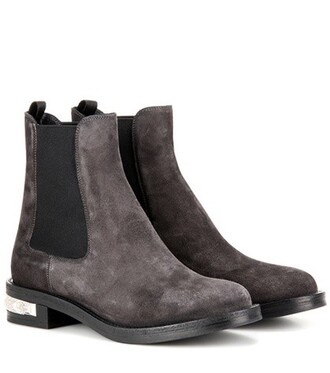 embellished boots chelsea boots suede grey shoes