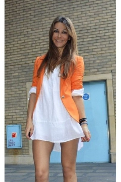 Jacket: orange jacket, orange blazer, blazer, white dress, ootd ...