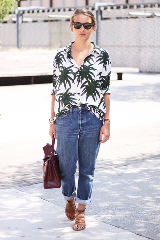 jane's sneak peak bag blouse jeans shoes sunglasses palm tree print shirt tropical summer outfits boyfriend jeans sandals strappy sandals leather bag