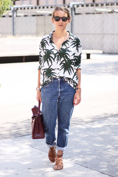 bag leather bag blouse sunglasses shoes jane's sneak peak jeans palm tree print shirt tropical summer outfits boyfriend jeans sandals strappy sandals