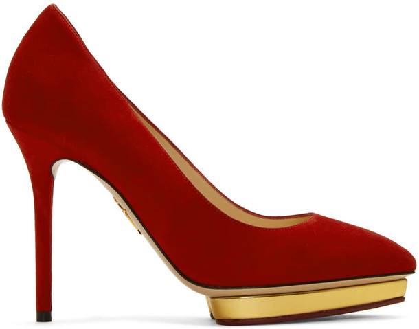 charlotte olympia heels suede red shoes