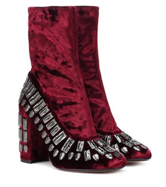 Samuele Failli Bea embellished velvet ankle boots in red