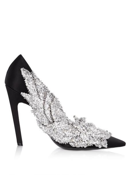 Balenciaga embellished pumps satin black shoes