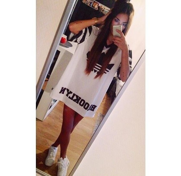 t-shirt t-shirt dress dress shirt white dress white black black dress brooklyn adidas