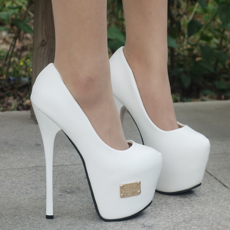 2014 NEW women's autumn shoes single shoes platform thin heels 16cm ultra high heels fashion White wedding shoes women's pumps-inPumps from Shoes on Aliexpress.com | Alibaba Group