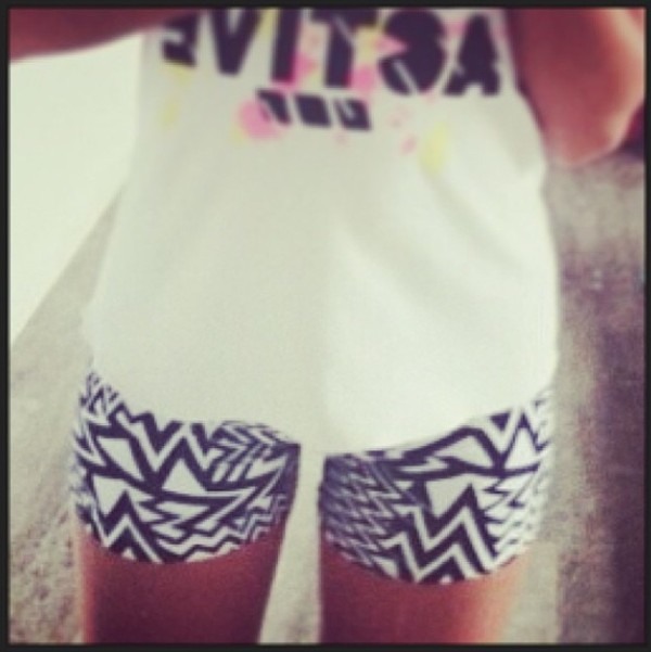shorts aztec black white tribal pattern tights workout lornajane
