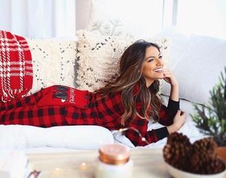 pajamas red bethany mota onesie flannel holiday season christmas pajamas