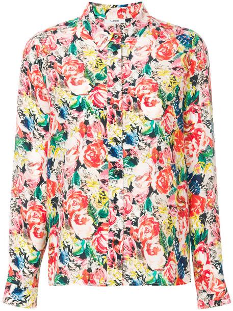 Ganni shirt women floral print silk top
