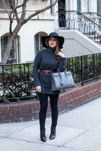the corporate catwalk blogger waist belt floppy hat handbag charcoal knitted sweater