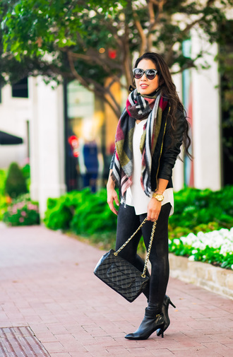 cute & little blogger jacket dress top blouse leggings shoes bag jewels scarf sunglasses ankle boots fall outfits