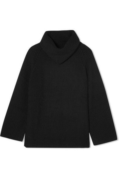 sweater turtleneck turtleneck sweater oversized black wool
