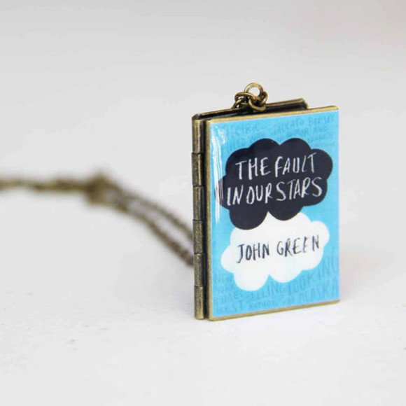 necklace jewels frantic jewelry jewelry blue books light blue the fault in our stars okay? locket reading