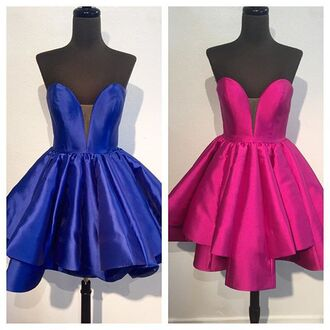 dress prom formal party blue pink purple strapless cocktail dress short dress pretty tumblr cute satin