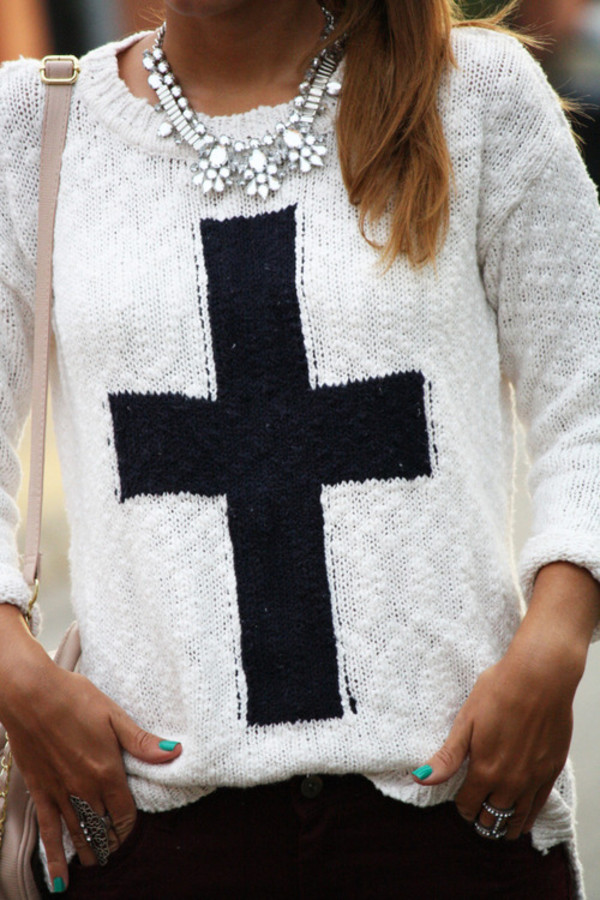 sweater cross black white knitwear cute clothes