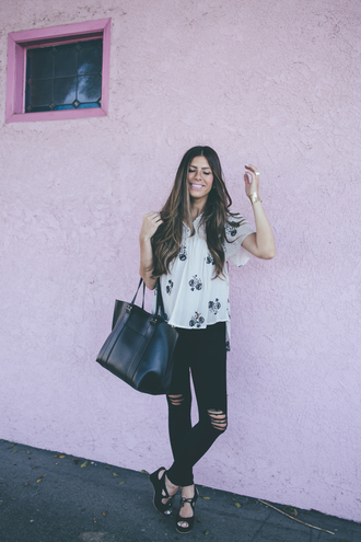 mint arrow blogger top jeans shoes bag jewels