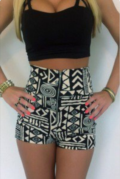 black bustier shorts shirt tribal pattern high waisted shorts jewels