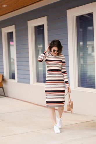 polishedclosets blogger dress shoes sunglasses bag jacket hat jewels sneakers striped dress gucci bag spring outfits