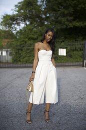 jumpsuit,cropped jumpsuit,white jumpsuit,cropped,sandals,sandal heels,high heel sandals,bag,gold bag,summer outfits,date outfit