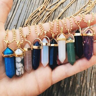 jewels california hipster tumblr fashion boho jewelry toute couleur crystal crystal necklaces necklace tumblr