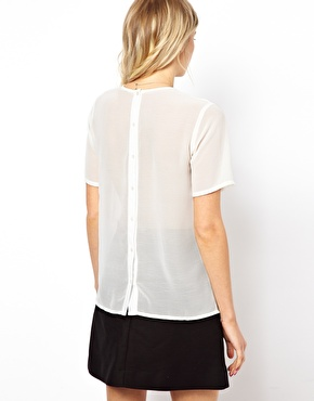 ASOS | ASOS Top With Lace Bib And Pintuck Placket at ASOS