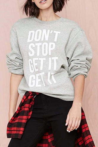 sweater zaful quote on it plaid grey sweater don't stop winter swag winter sweater red streetwear black fall outfits rad hippie tumblr outfit chic cool college oversized sweater warm boyish fashion grey style casual sporty long sleeves sweatshirt winter outfits