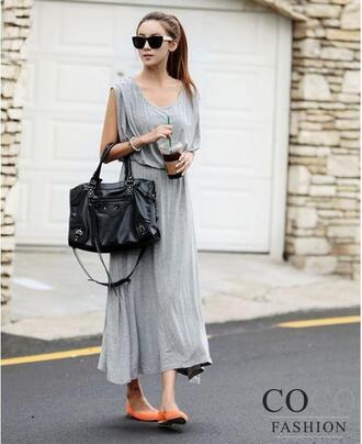 dress maxi dress grey dress beach dress