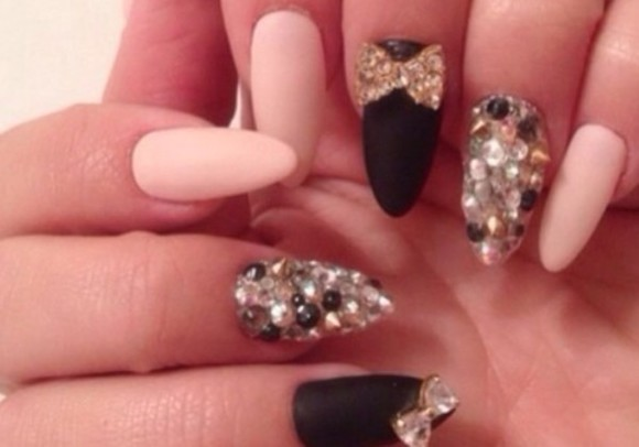 sparkly black gold nail polish pointy matte nude spikes bow