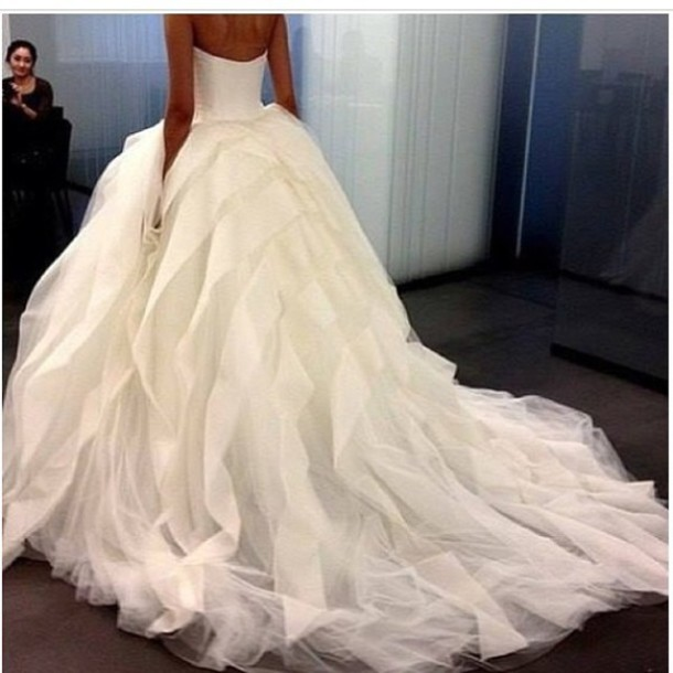 wedding dress, long train dress, dress, white dress, puffy, dress ...
