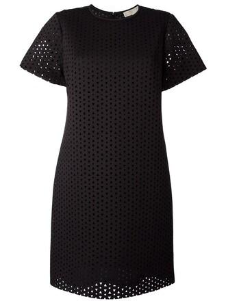 dress mini dress mini embroidered cut-out women spandex cotton black