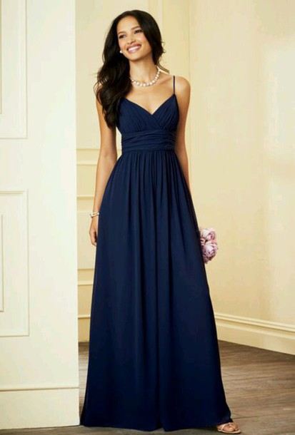 dress blue dress prom dress v-line navy