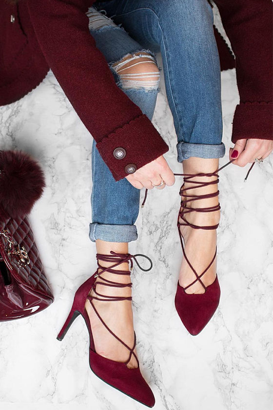 78a79e5f7b0 Seychelles Bauble Burgundy Suede Leather Lace-Up Heels