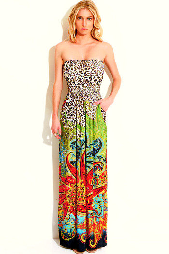 Leopard animal print paisely strapless pocketed maxi sun dress