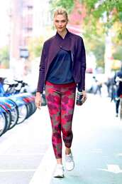 pants,karlie kloss,model off-duty,jacket,sportswear,sporty