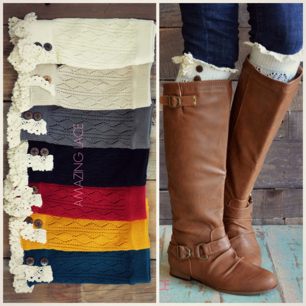 socks boot cuffs boot socks crochet detail black boot socks ivory boot socks  fall boot socks - Socks: Boot Cuffs, Boot Socks, Crochet Detail, Black Boot Socks