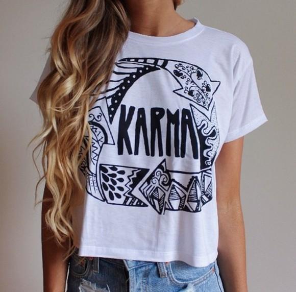 shirt white t-shirt white shirt black karma white t-shirt