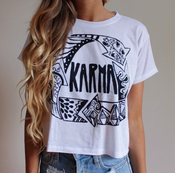 karma white white shirt white t-shirt black t-shirt shirt black and white tshirt tekst karmaloop pattern summer