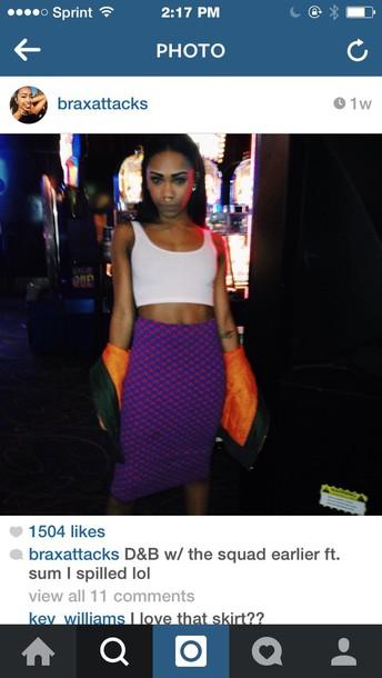 skirt purple pattern skirt