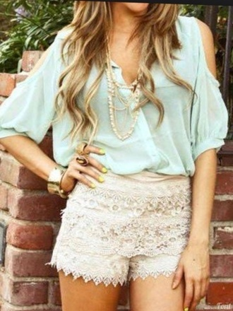 blouse shoulder less turquoise blue light blue light green green blue necklace shorts lace shorts tan shorts jewels haute & rebellious chiffon blouse cutout shoulder