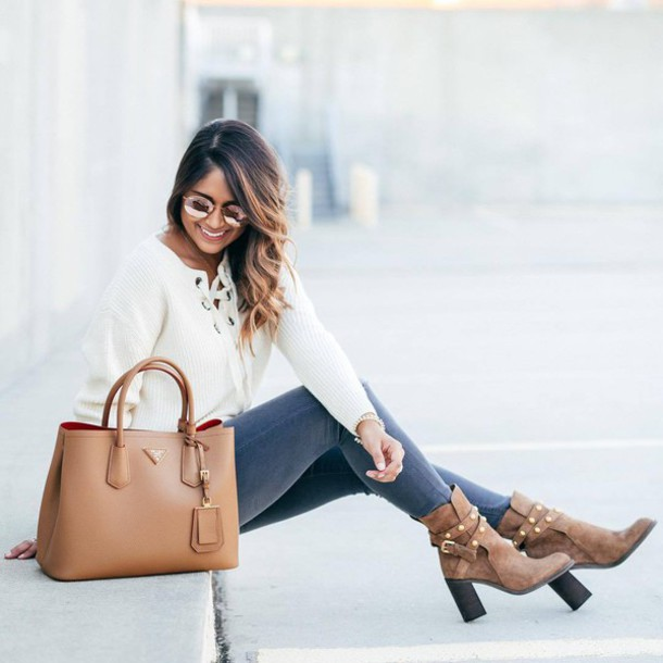 Shoes tumblr boots high heels boots brown boots denim jeans grey jeans sweater white ...