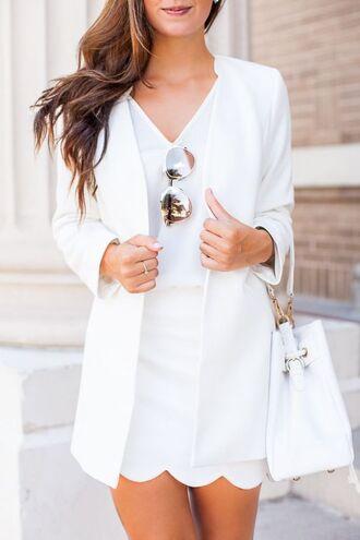 skirt white blazer scalloped skirt mini skirt white skirt top white top blazer sunglasses mirrored sunglasses classy bag bucket bag white bag