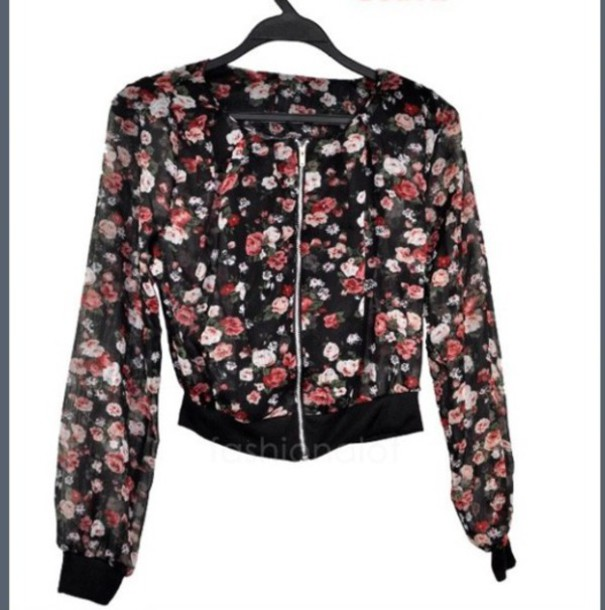 jacket floral sweater fashion black jacket