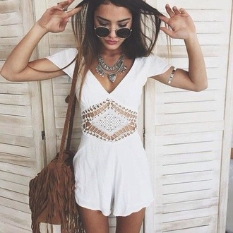 romper jumpsuit jump play suit white boho bohemian lace summer spring beach party pool teenagers girl cute tumblr neck sun sunny v neck bag