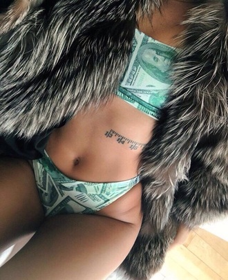 swimwear print bikini green dollar