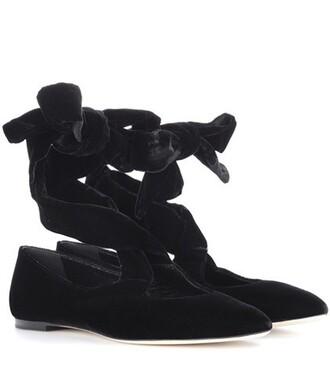 velvet black shoes