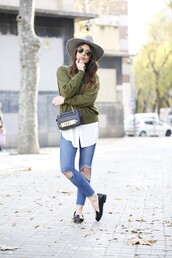 dulceida,blogger,sweater,blouse,hat,moschino,olive green,ripped jeans,loafers,black loafers,grey hat,black hat