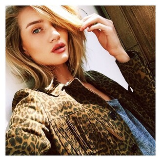 jacket fringes animal print rosie huntington-whiteley instagram top t-shirt