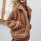 Acadia oversized brown faux shearling borg coat