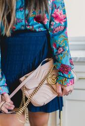 bohostylefile,blogger,top,skirt,bag,gucci bag,floral blouse,blue skirt,spring outfits