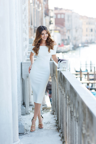 the mysterious girl blogger dress shoes jewels classy classy dress off the shoulder off the shoulder dress midi dress bodycon dress necklace gold sandals sandals sandal heels high heel sandals